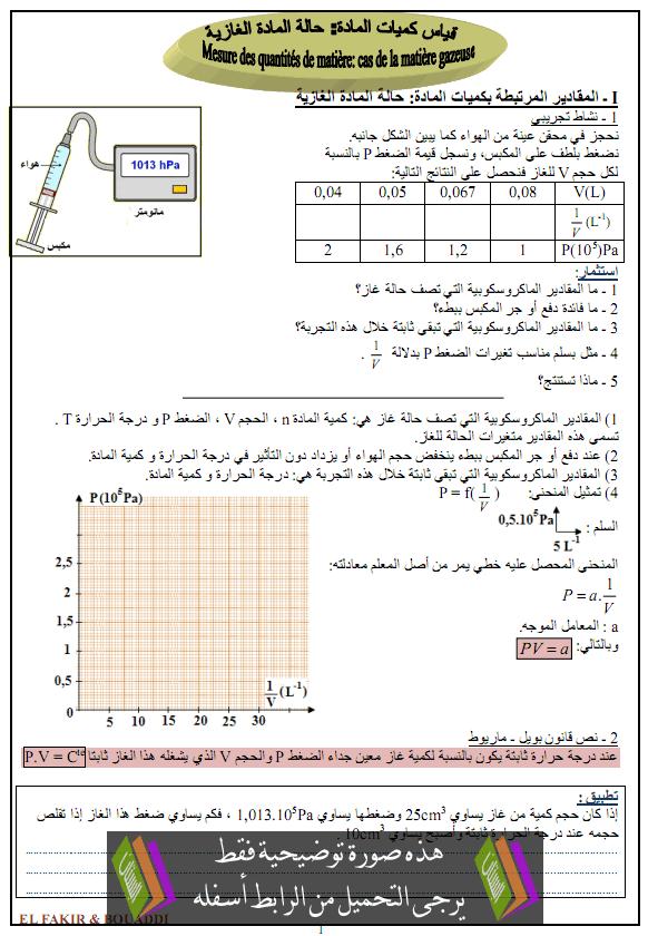 درس الكيمياء: قياس كمية المادة (حالة المادة الغازية) – أولى باكلوريا علوم تجريبية وعلوم رياضية