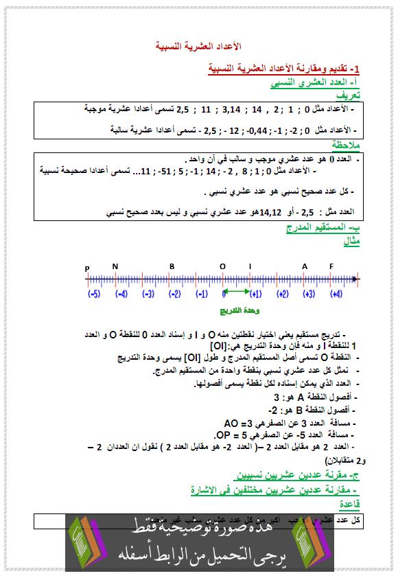 درس الأعداد العشریة النسبیة (تقديم ومقارنة) - الأولى إعدادي