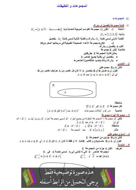 درس المجموعات والتطبيقات - الأولى باكالوريا علوم رياضية