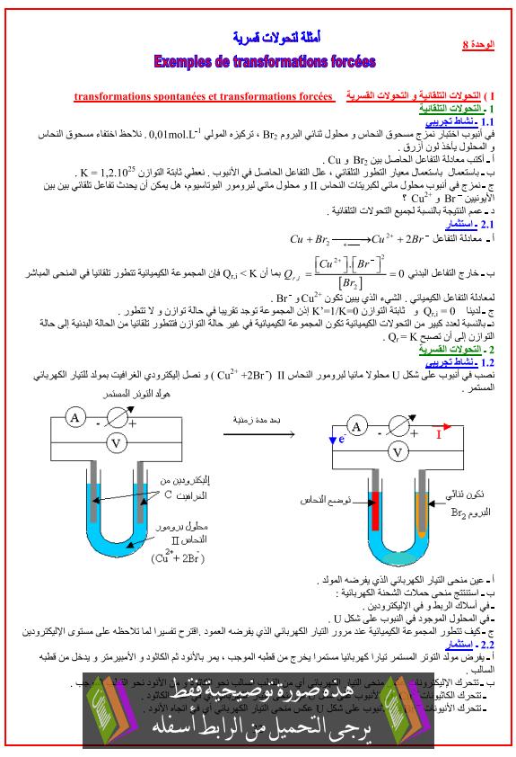 درس الكيمياء: أمثلة لتفاعلات قسرية - الثانية باكالوريا علوم رياضية