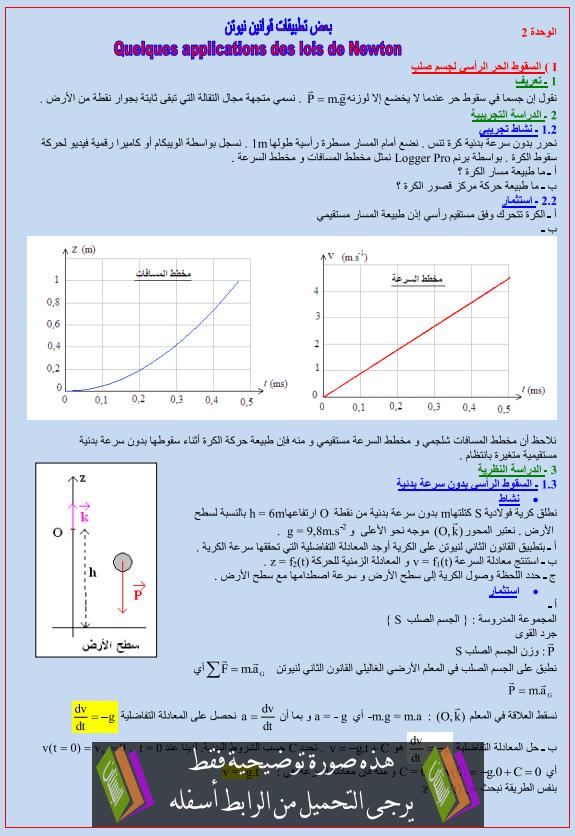 درس الفيزياء: بعض تطبيقات قوانين نيوتن - الثانية باكالوريا علوم الحياة والأرض
