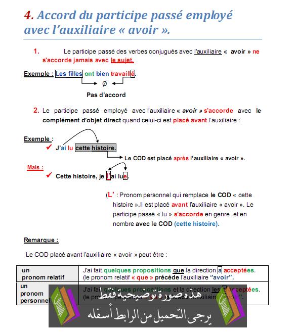 درس «Accord du participe passé employé avec l'auxiliaire «avoir - اللغة الفرنسية - الثالثة إعدادي