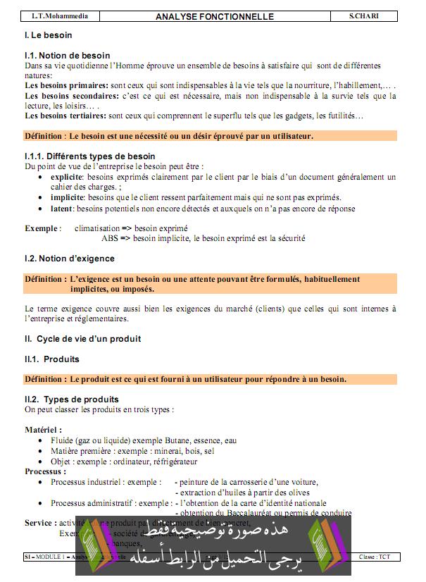 درس Analyse fonctionnelle - علوم المهندس - جذع مشترك تكنولوجي