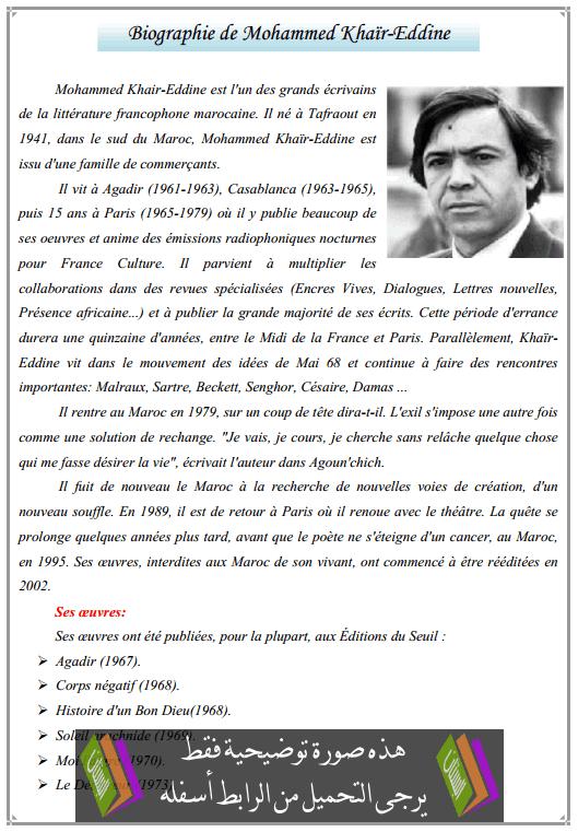 درس Biographie de Mohammed Khaïr-Eddine - اللغة الفرنسية - الثانية باكالوريا