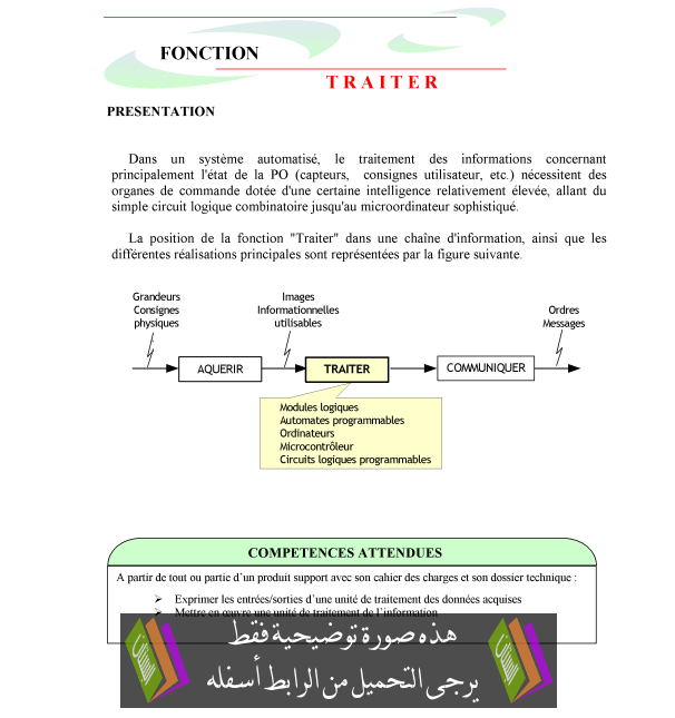 درس Fonction traiter - علوم المهندس - جذع مشترك تكنولوجي