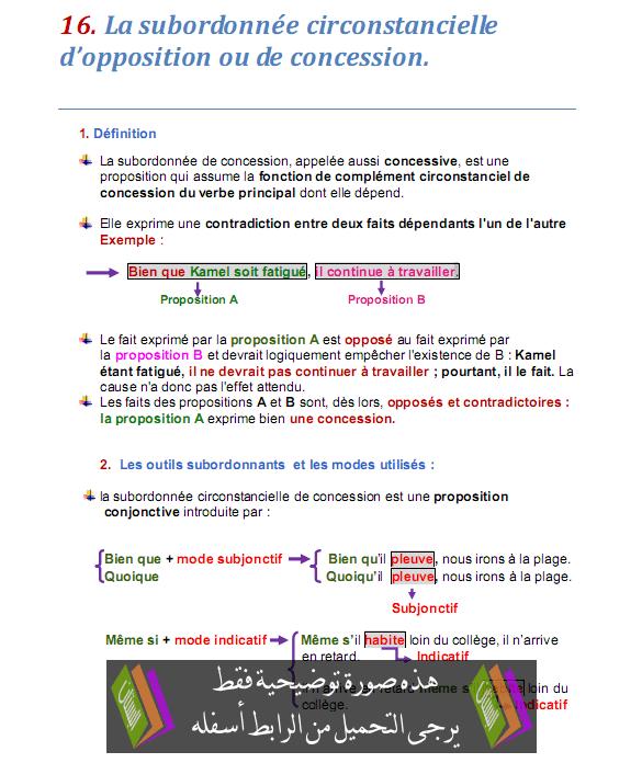 درس La subordonnée circonstancielle d'opposition ou de concession - اللغة الفرنسية - الثالثة إعدادي