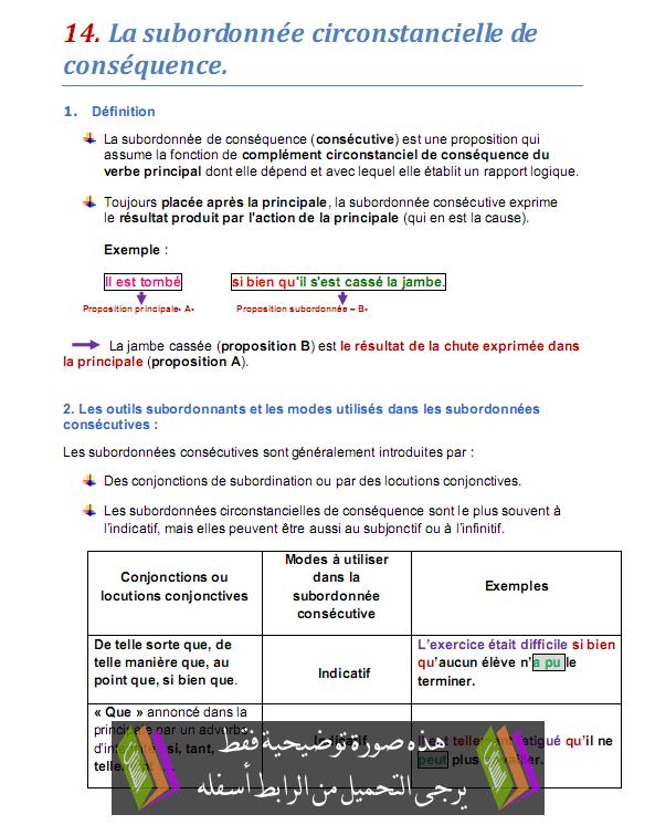 درس La subordonnée circonstancielle de conséquence - اللغة الفرنسية - الثالثة إعدادي