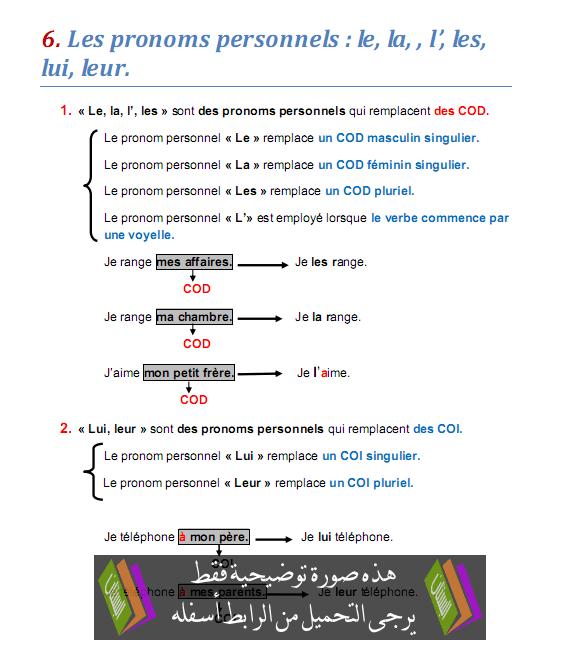 درس Les pronoms personnels: le, la, l', les, lui, leur - اللغة الفرنسية - الثالثة إعدادي