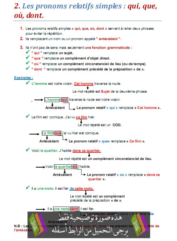 درس Les pronoms relatifs simples: qui, que, où, dont - اللغة الفرنسية - الثالثة إعدادي