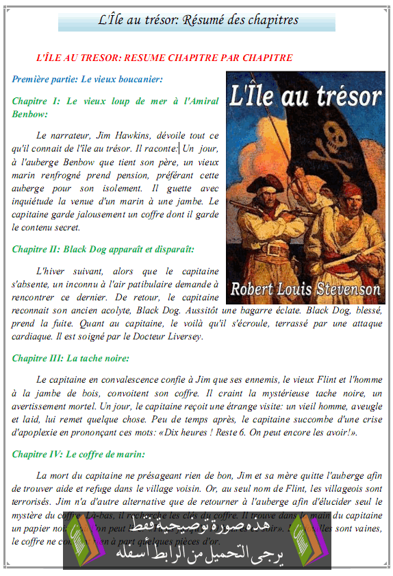 درس L'Île au trésor: Résumé des chapitres - اللغة الفرنسية - الثالثة إعدادي