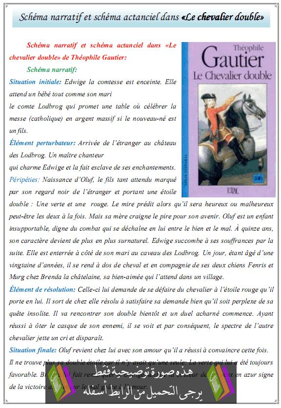 درس «Schéma narratif et schéma actanciel dans «Le chevalier double - اللغة الفرنسية - جذع مشترك