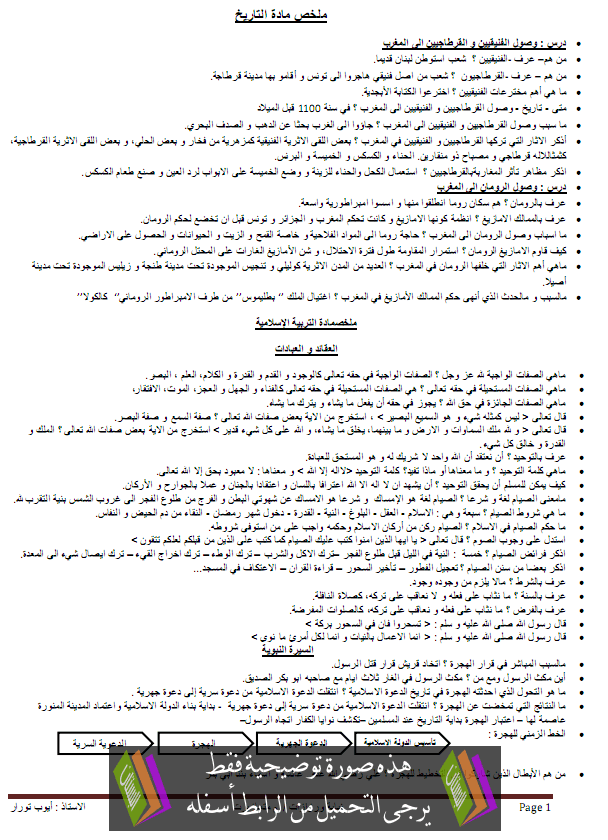 ملخصات دروس التاريخ والتربية الإسلامية - السادس إبتدائي