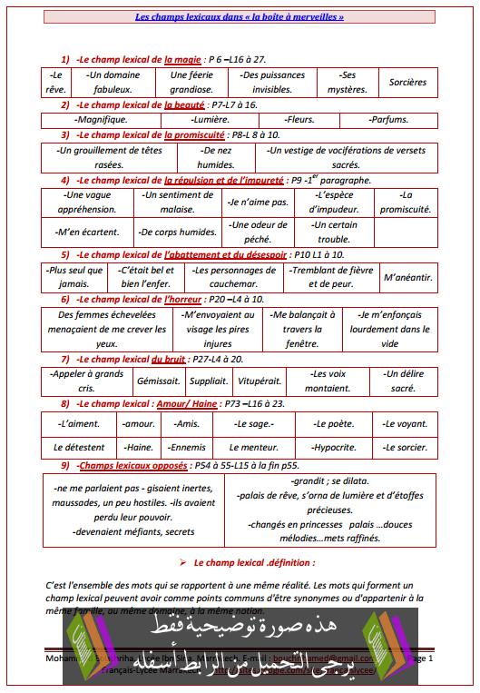 درس «Les champs lexicaux dans «La boîte à merveilles - اللغة الفرنسية - الأولى باكالوريا