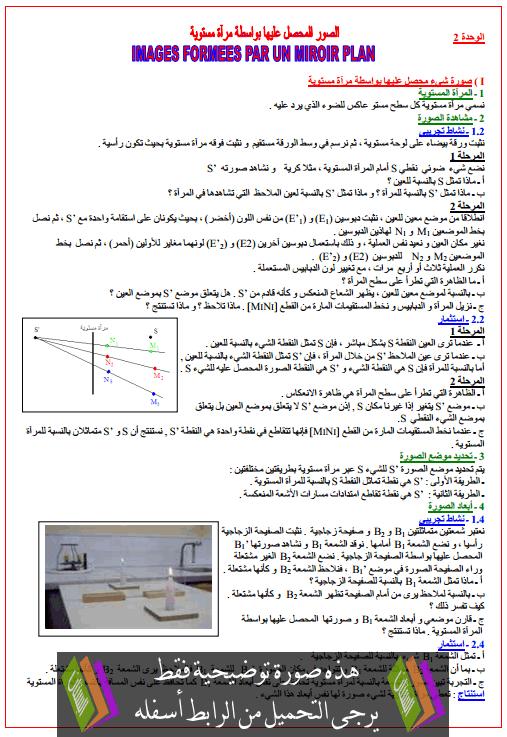 درس الصورة المحصل عليها بواسطة مرآة مستوية الأولى باكالوريا علوم تجريبية (الفيزياء)