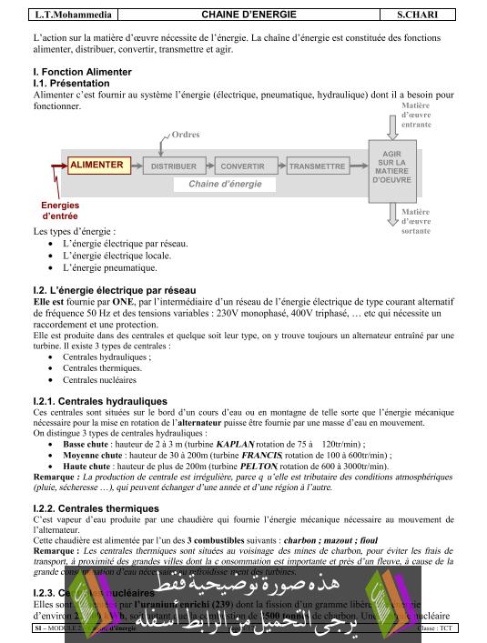 درس Chaine d'énergie الثانية باكالوريا علوم رياضية (ب) (علوم المهندس)