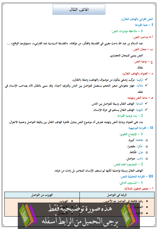 تحضير النص القرائي الهاتف النقال للأولى إعدادي (اللغة العربية)