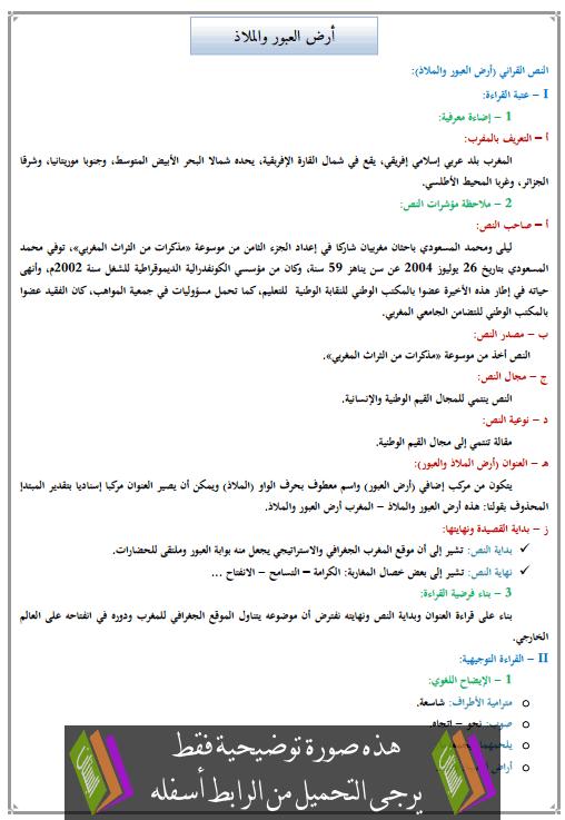 تحضير النص القرائي أرض العبور والملاذ للأولى إعدادي (اللغة العربية)