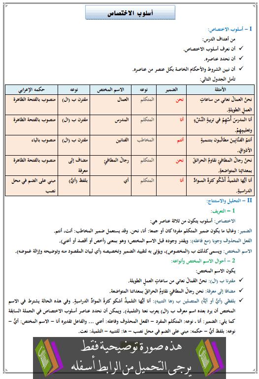 درس أسلوب الاختصاص الثالثة إعدادي (اللغة العربية)
