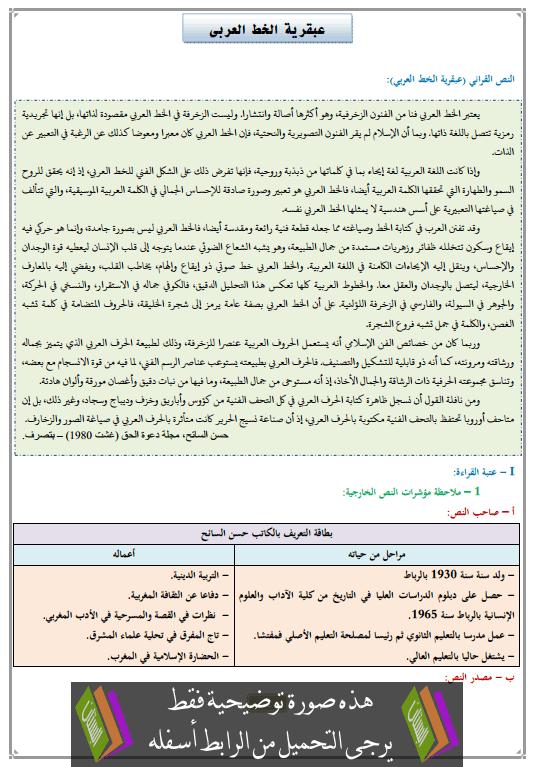تحضير النص القرائي عبقرية الخط العربي الثالثة إعدادي (اللغة العربية)