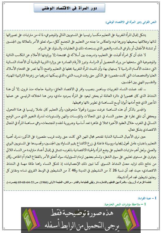 تحضير النص القرائي دور المرأة في الاقتصاد الوطني الثالثة إعدادي (اللغة العربية)