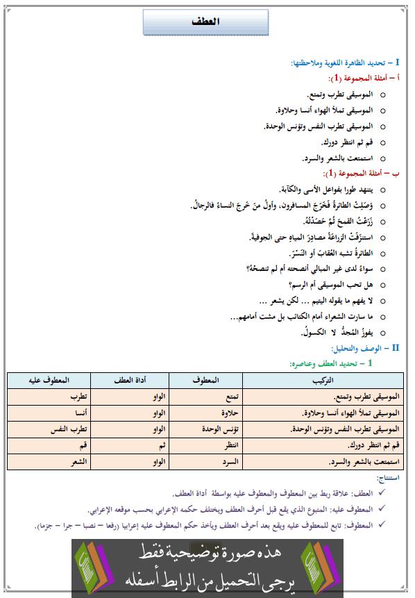درس العطف للثانية إعدادي (اللغة العربية)