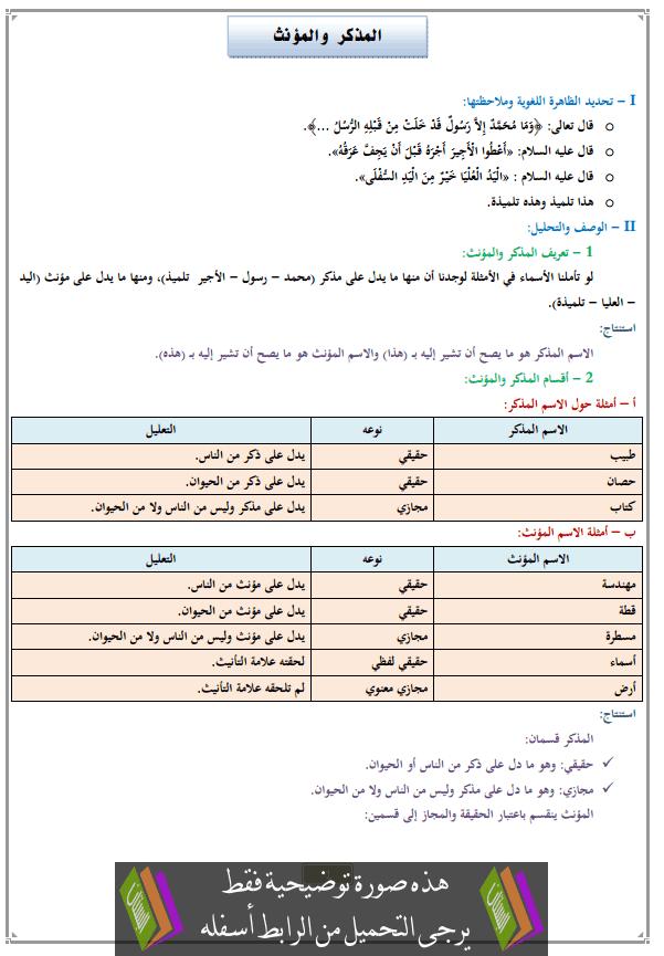 درس المذكر والمؤنث للثانية إعدادي (اللغة العربية)