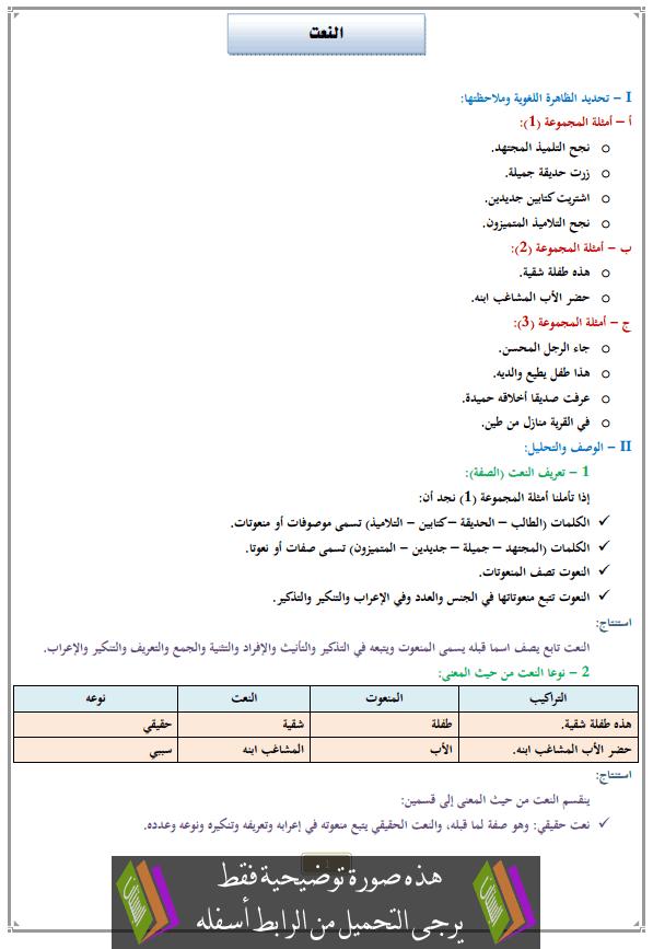 درس النعت للثانية إعدادي (اللغة العربية)
