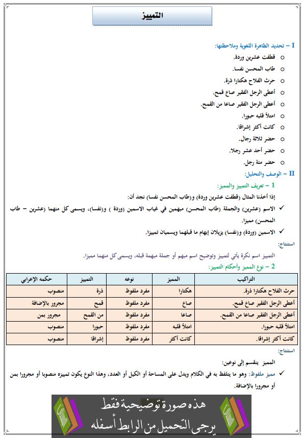 درس التمييز للثانية إعدادي (اللغة العربية)