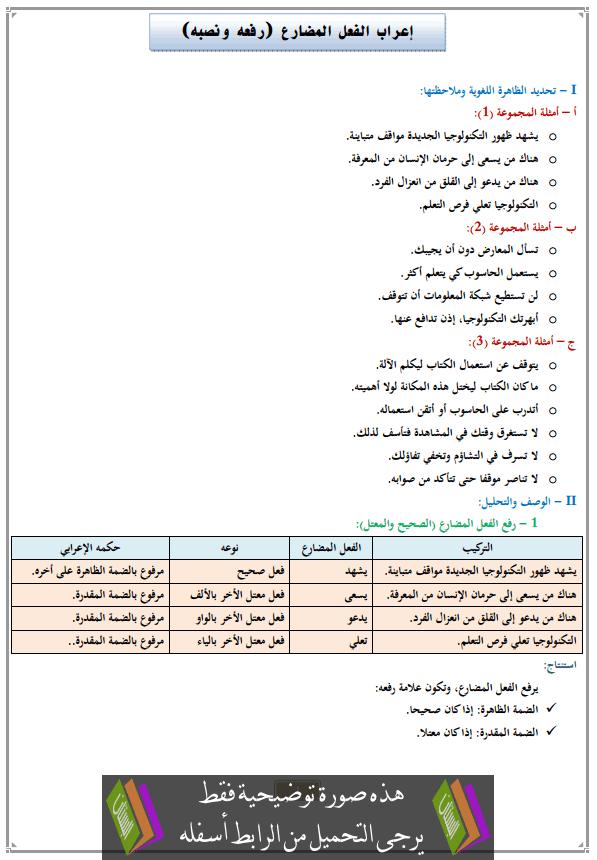 درس إعراب الفعل المضارع (رفعه ونصبه) للأولى إعدادي (اللغة العربية)