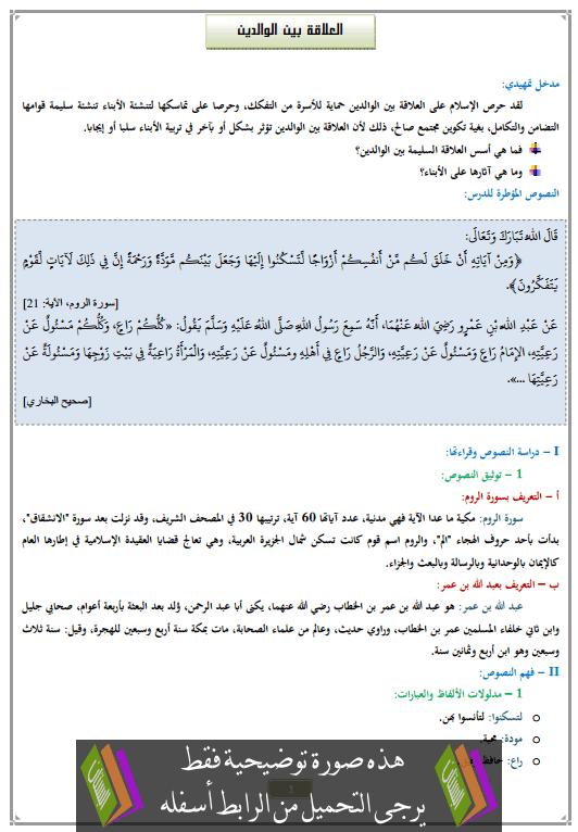درس العلاقة بين الوالدين الثالثة إعدادي في التربية الإسلامية