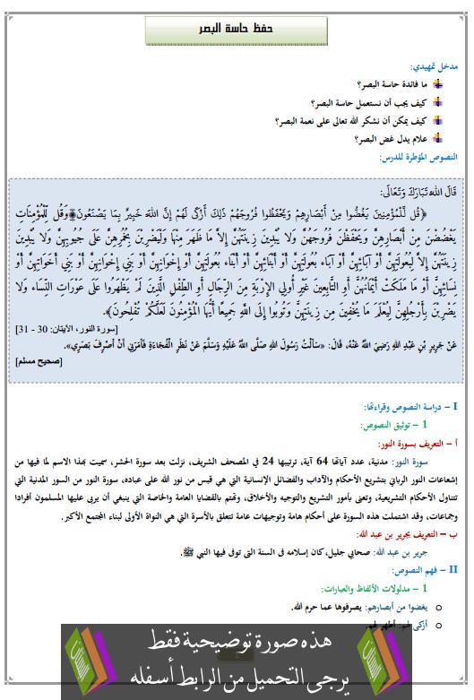 درس حفظ حاسة البصر الثانية إعدادي في التربية الإسلامية