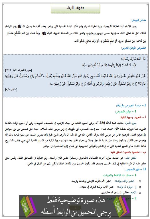 درس حقوق الأبناء الثانية إعدادي في التربية الإسلامية